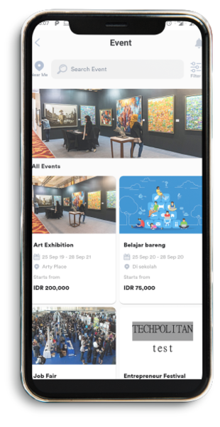 This page displays all events occurred at the moment such as the art exhibition or study collaboration held at a certain location along with the price and availability.