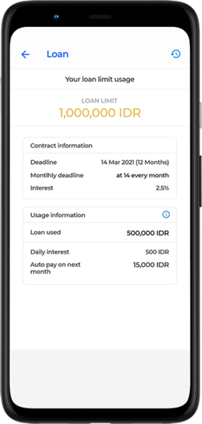 The system presents a feature for a loan with the maximum permitted level complemented with certain interest rates, amortization periods, and loan balances so the users do not need to go to the bank physically anymore.